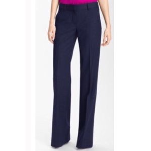 Theory Emery Broadway Wide Leg Career Trouser Navy